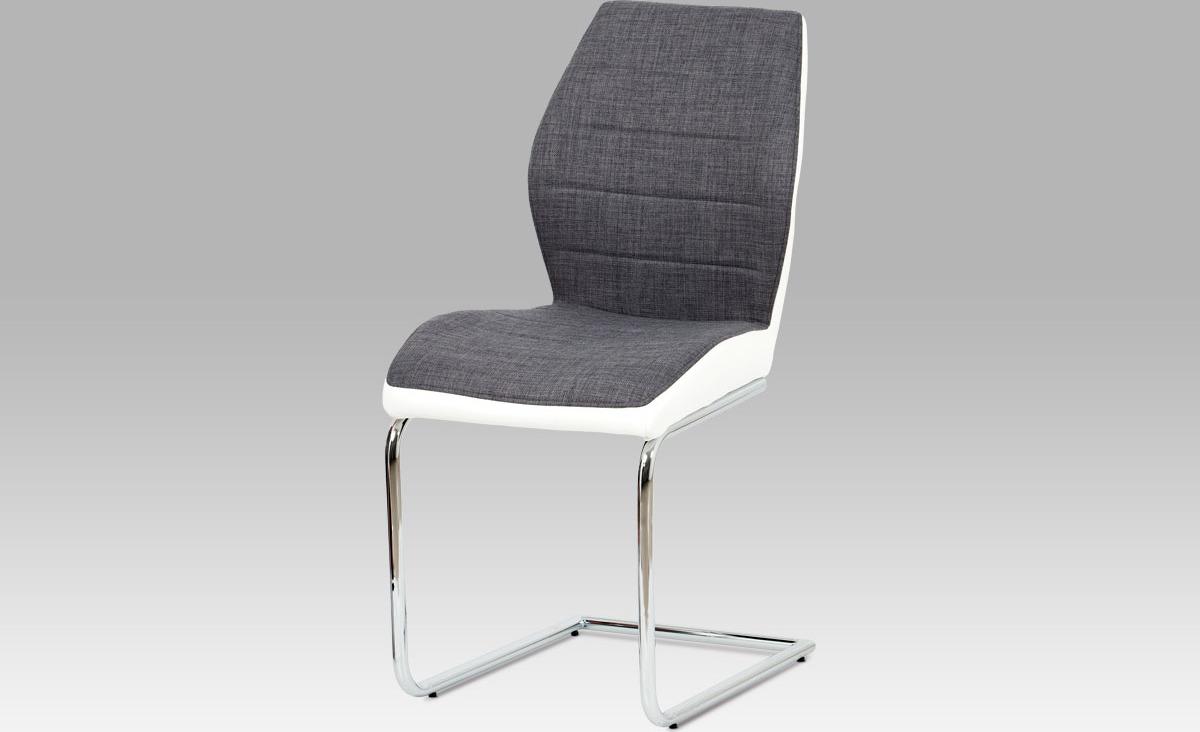 Artium Jídelní židle| látka a koženka | chrom | 46x44x92x52cm Barva: šedá