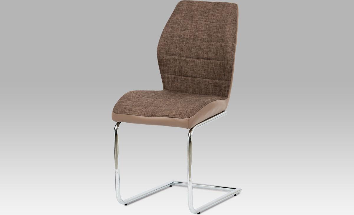 Artium Jídelní židle| látka a koženka | chrom | 46x44x92x52cm Barva: hnědá