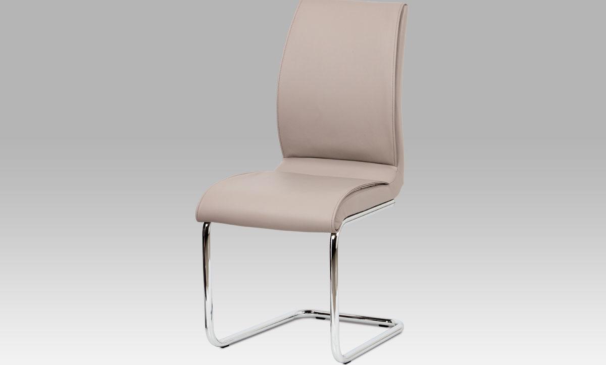 Jídelní židle | koženka | chrom | 45x39x100x50cm Barva: lanýžová