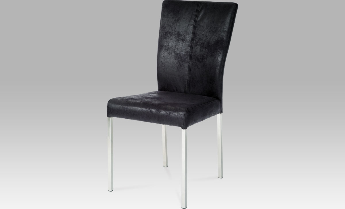 Artium Jídelní židle| látka černá imitace broušené kůže | nerez