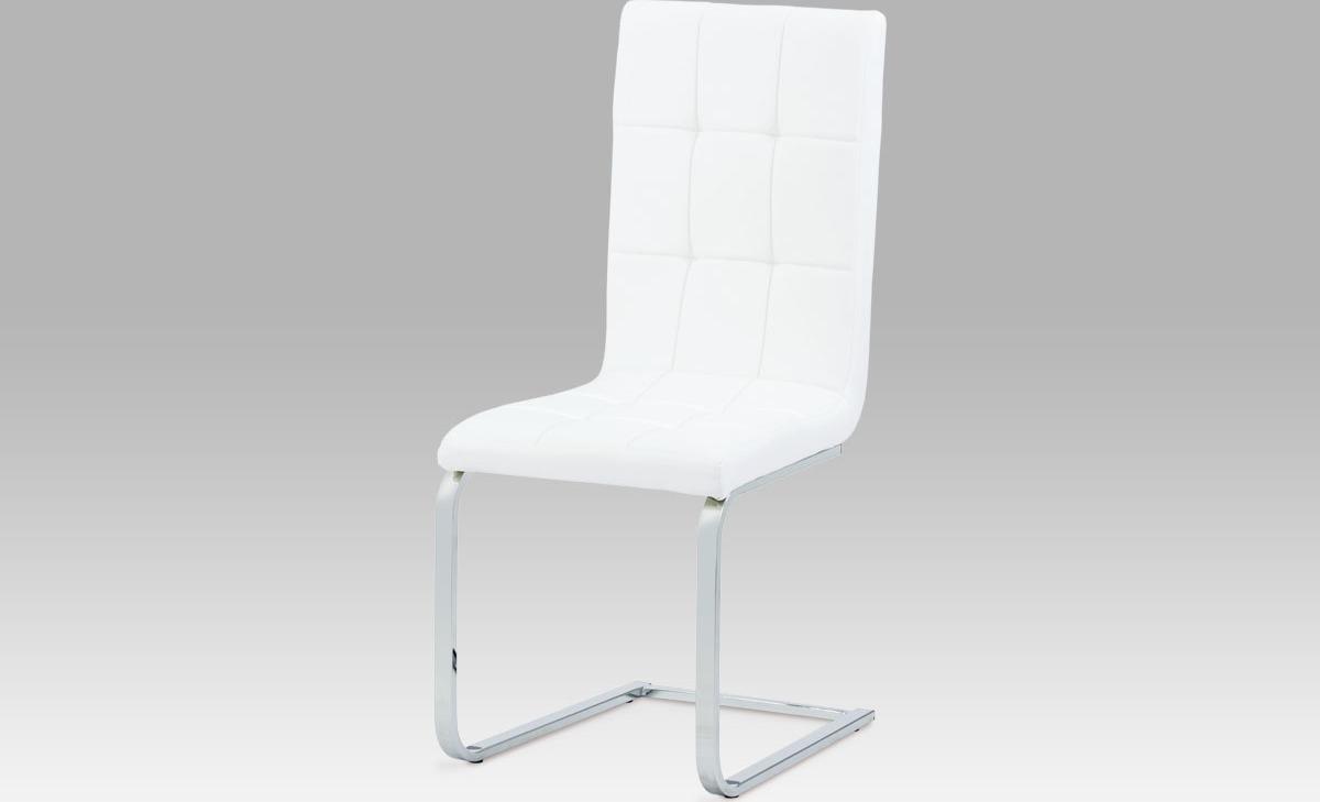 Artium Jídelní židle koženka | chrom | 44x41x100x48cm Barva: bílá