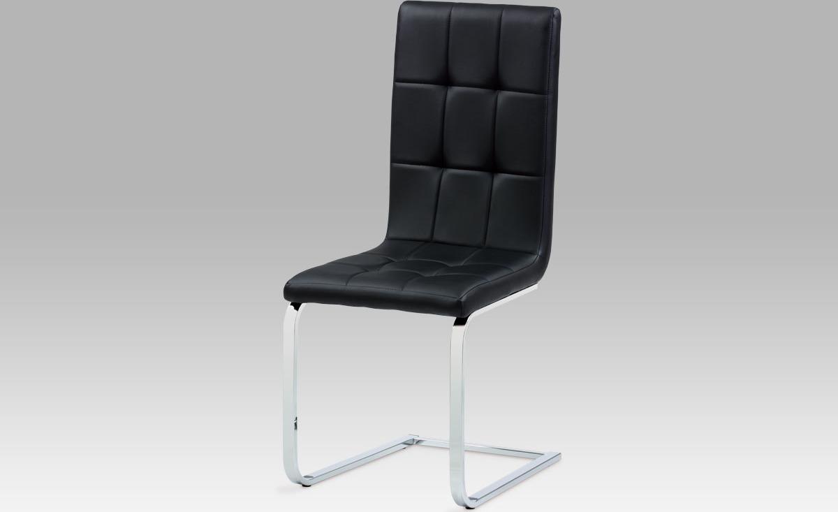 Artium Jídelní židle koženka | chrom | 44x41x100x48cm Barva: černá