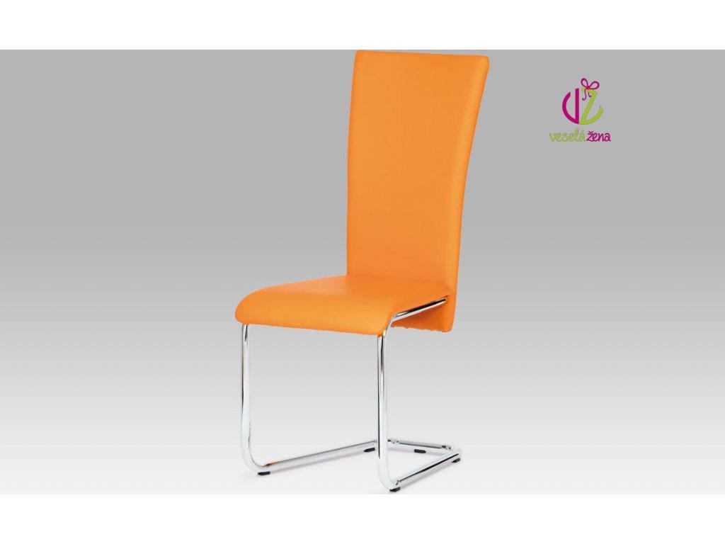 Artium Jídelní židle koženková 44x42x102x47cm Barva: oranžová