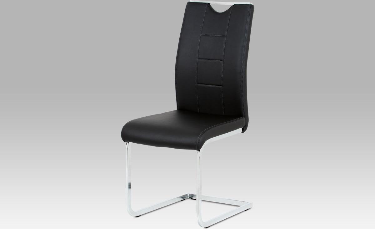 Artium Jídelní židle | koženka | chrom | 45x46x99x46cm Barva: černá