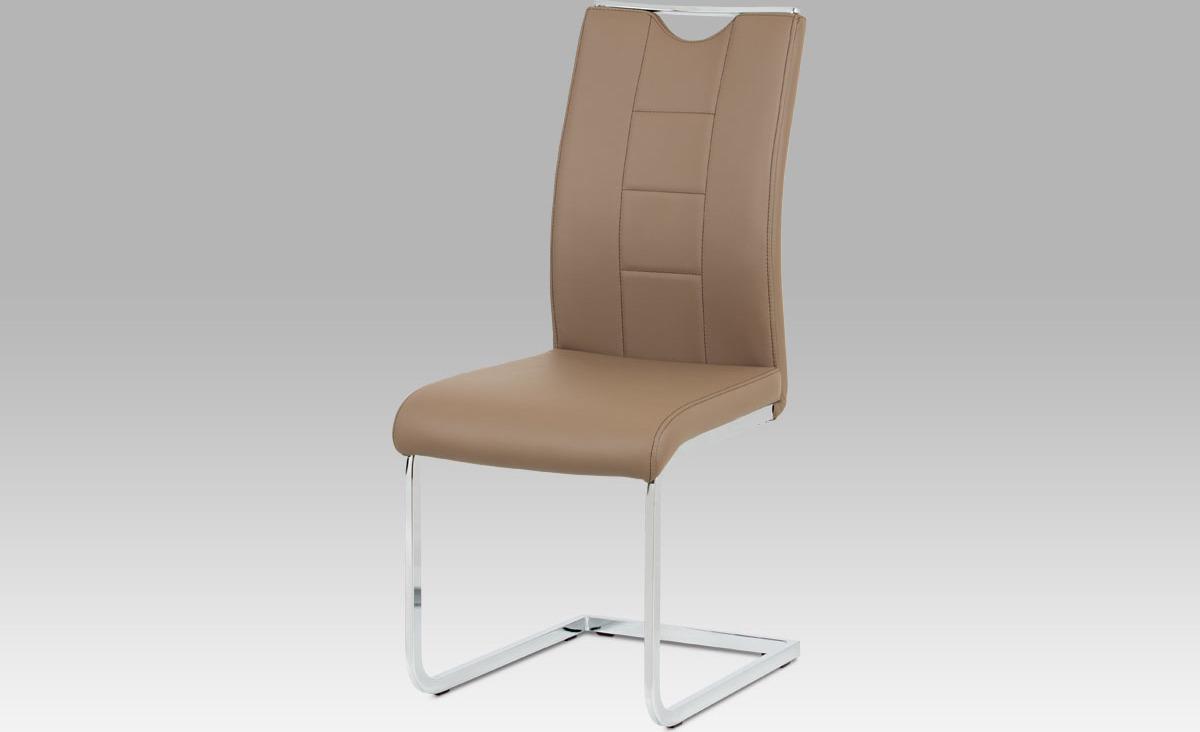 Artium Jídelní židle | koženka | chrom | 45x46x99x46cm Barva: latté
