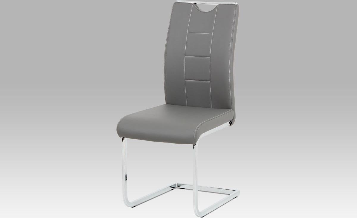 Artium Jídelní židle | koženka | chrom | 45x46x99x46cm Barva: šedá