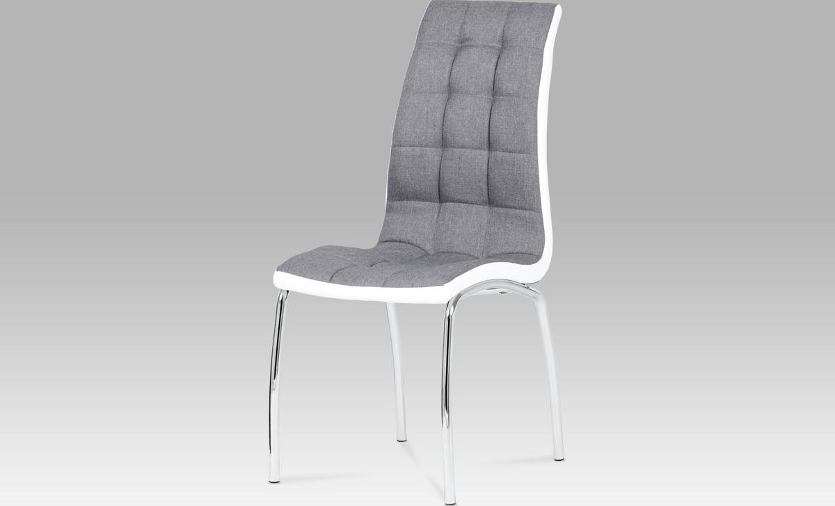 Artium Jídelní židle | látka a koženka | chrom Barva: šedá