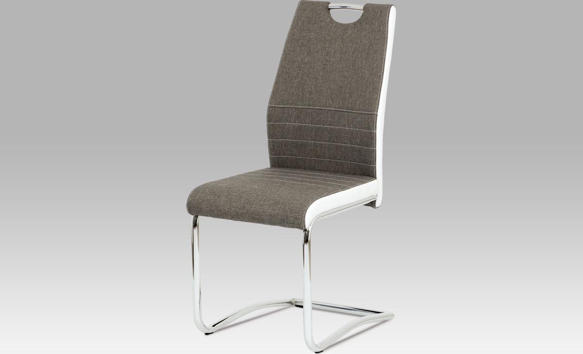 Artium Jídelní židle | látka a koženka | chrom | 44x43x98x47cm Barva: lanýžová