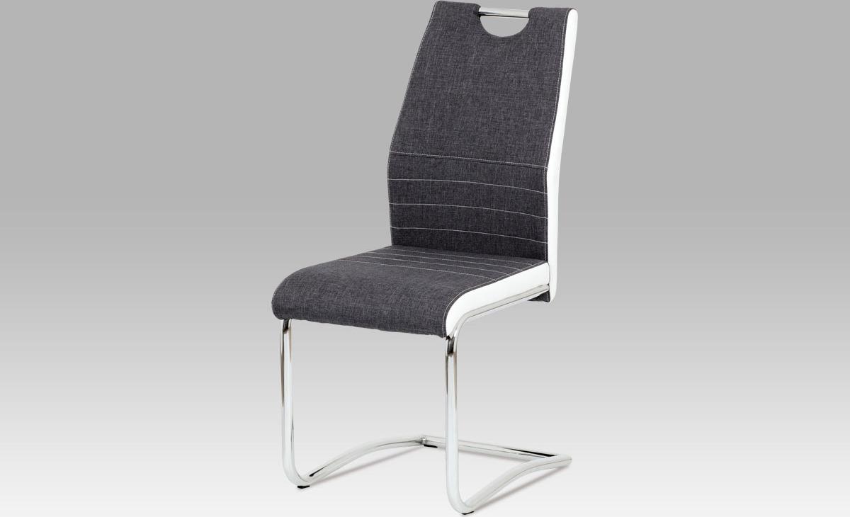 Artium Jídelní židle | látka a koženka | chrom | 44x43x98x47cm Barva: šedá
