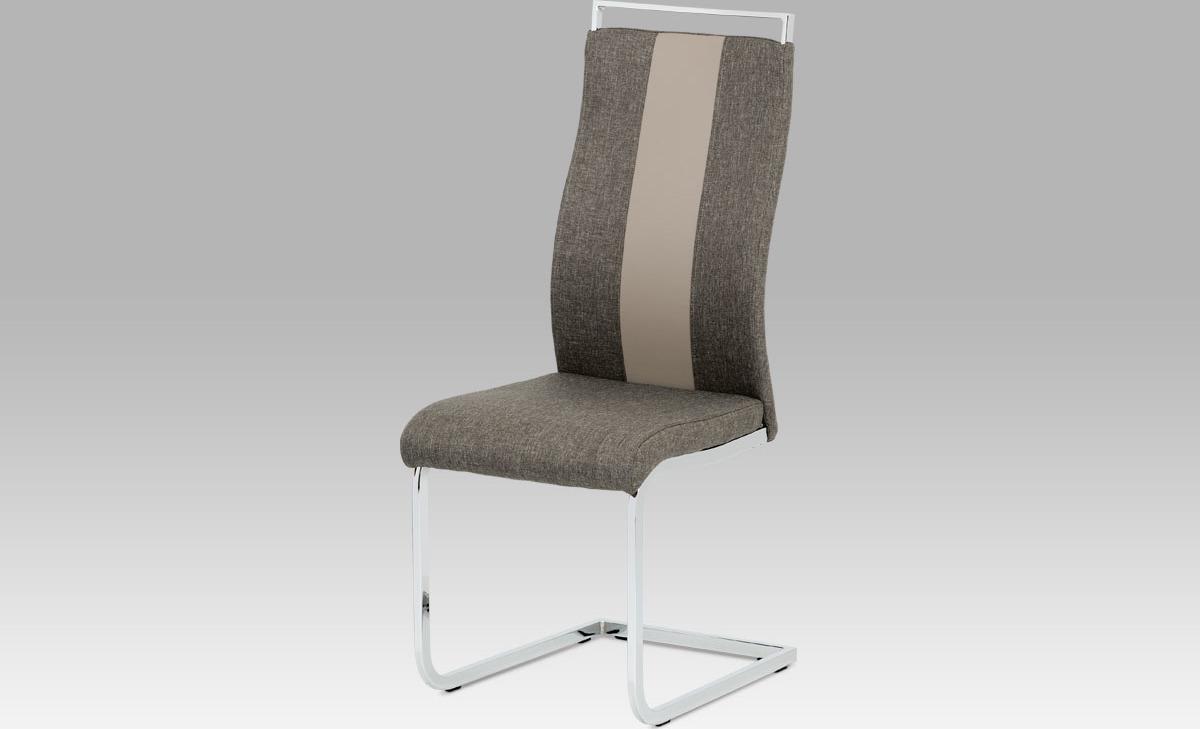 Artium Jídelní židle | látka a koženka | chrom | 44x43x106x47 Barva: lanýžová