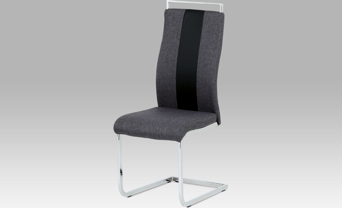 Artium Jídelní židle | látka a koženka | chrom | 44x43x106x47 Barva: šedá