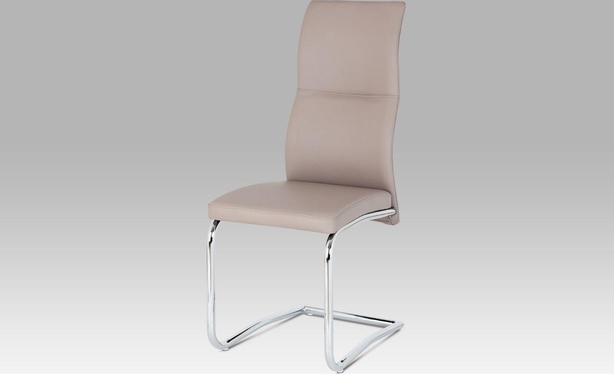 Jídelní židle | koženka | chrom 42x44x103x48cm Barva: lanýžová