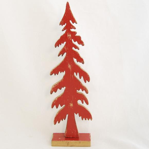 Dřevěný vánoční stromeček červený