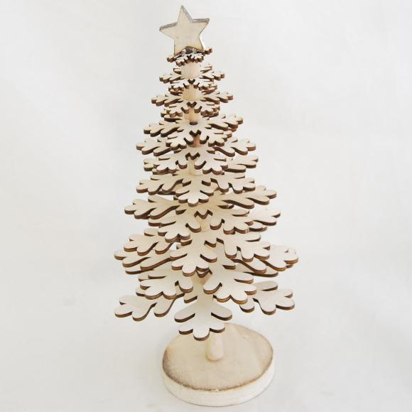 ID vánoční stromeček | dřevěný | krémový | na stojánku