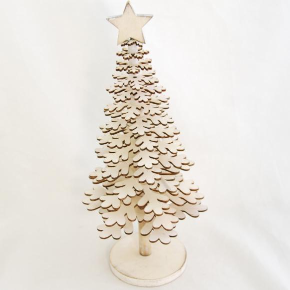Dřevěný vánoční stromeček krémový 36cm