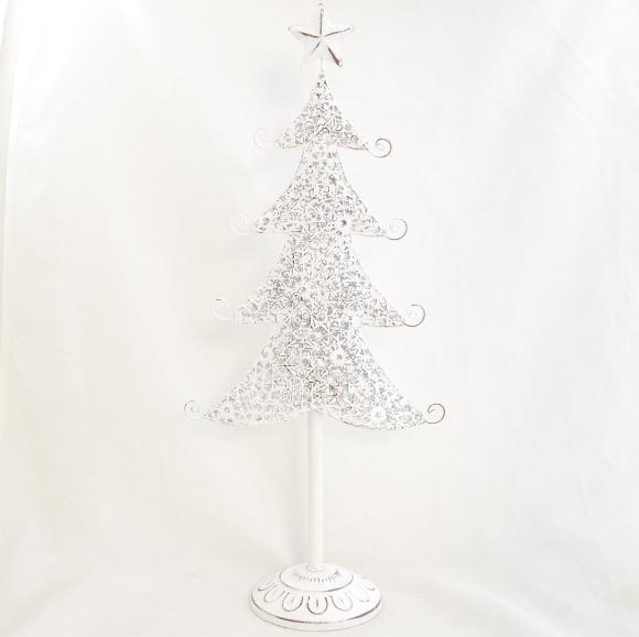 Plechový vánoční stromeček s bílou patinou 42 cm