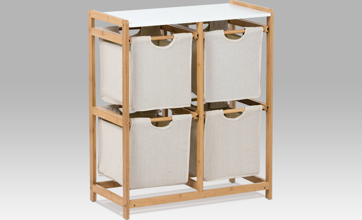 Regál bambus 4 šuplíky Barva: šedá
