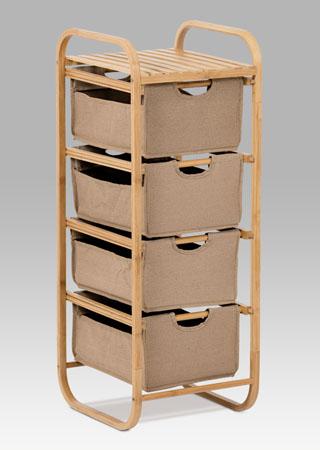 Regál bambusový 4 šuplíky Barva: hnědá