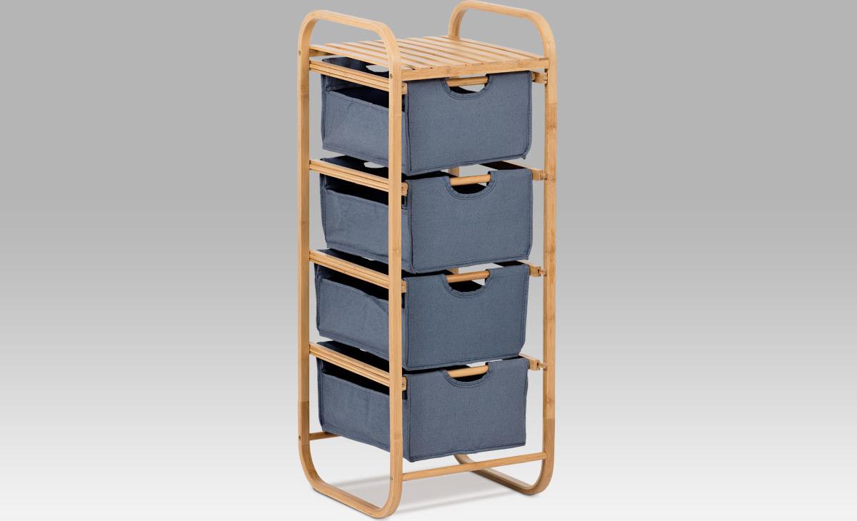 Regál bambusový 4 šuplíky Barva: modrá