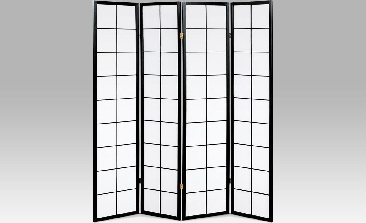 Paraván čtyřdílný 174x178cm Barva: černá