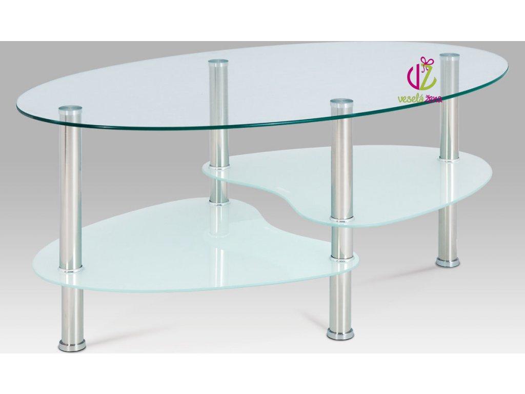 Konferenční stolek skleněný | konstrukce leštěný nerez | 100x60x41cm Barva: bílá