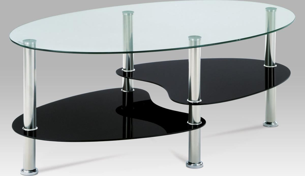 Konferenční stolek skleněný | konstrukce leštěný nerez | 100x60x41cm Barva: černá