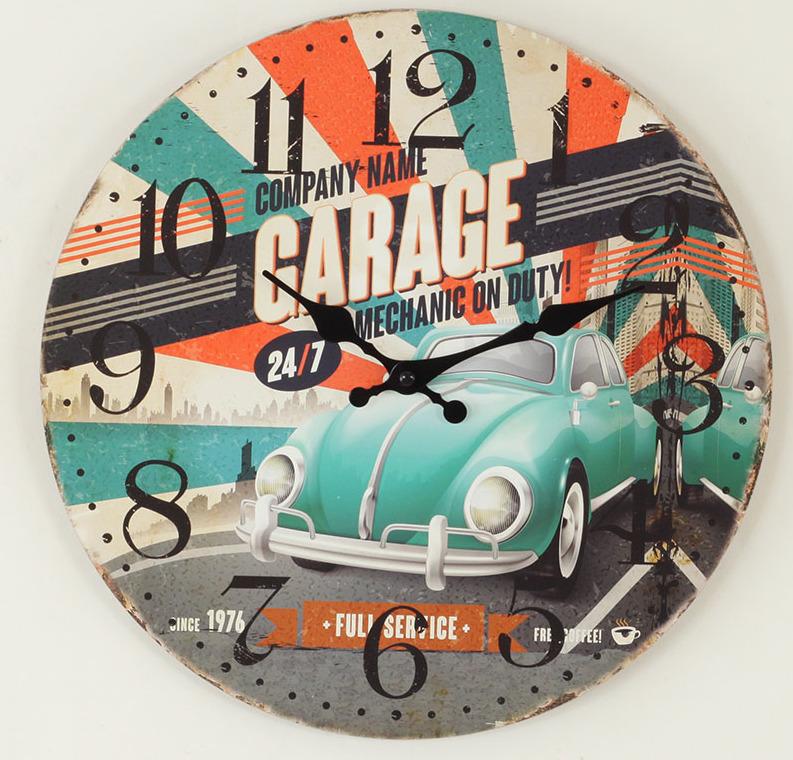 Hodiny nástěnné MDF 34cm Garage