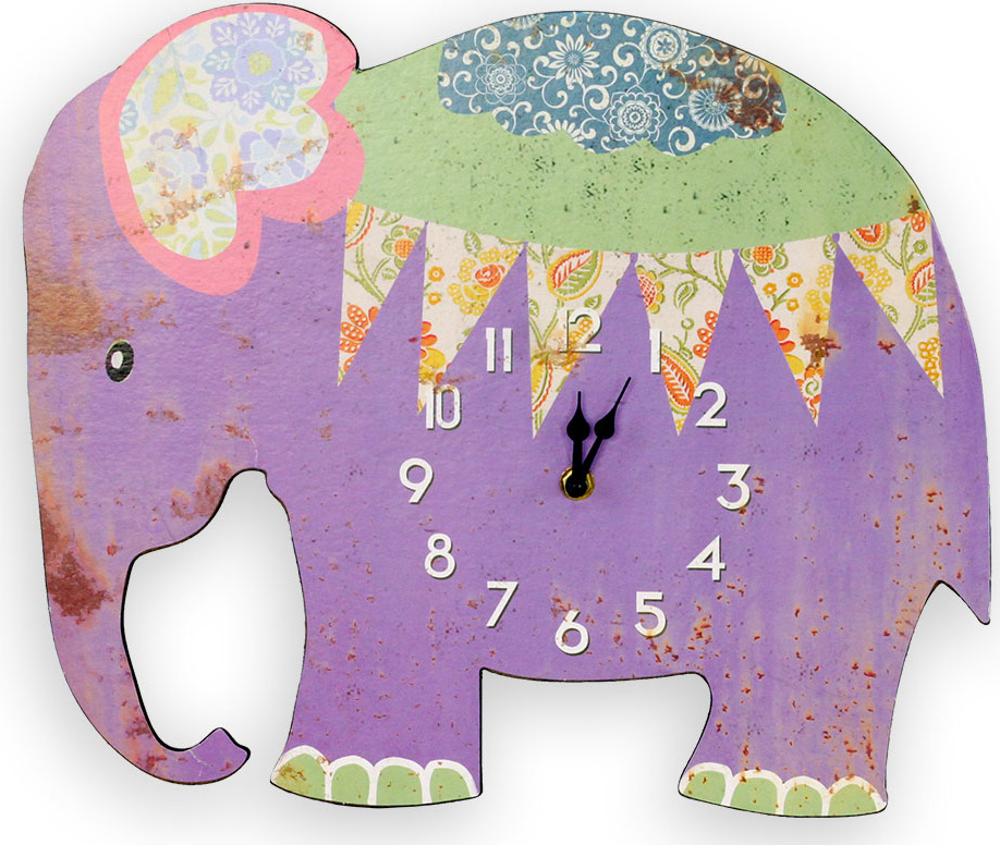 Nástěnné hodiny Slon fialový