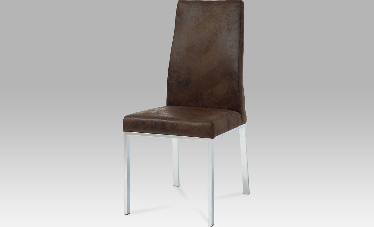 Jídelní židle | chrom | látka hnědá