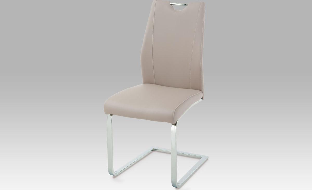 Jídelní židle | koženka | chrom | 43x47x95x48cm Barva: lanýžová