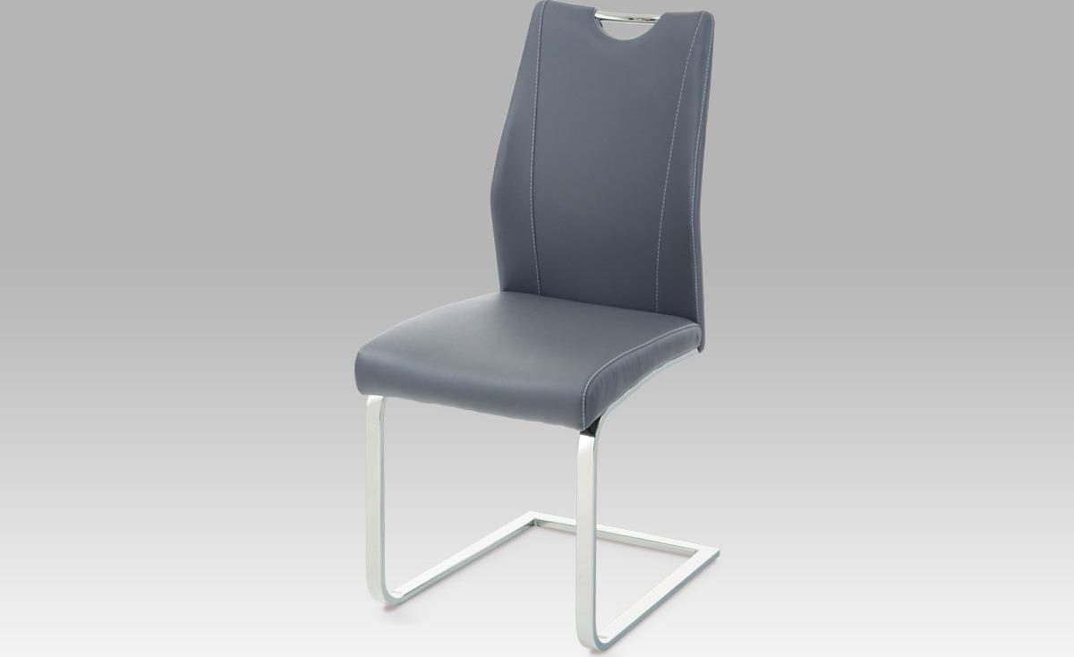 Jídelní židle | koženka | chrom | 43x47x95x48cm Barva: šedá