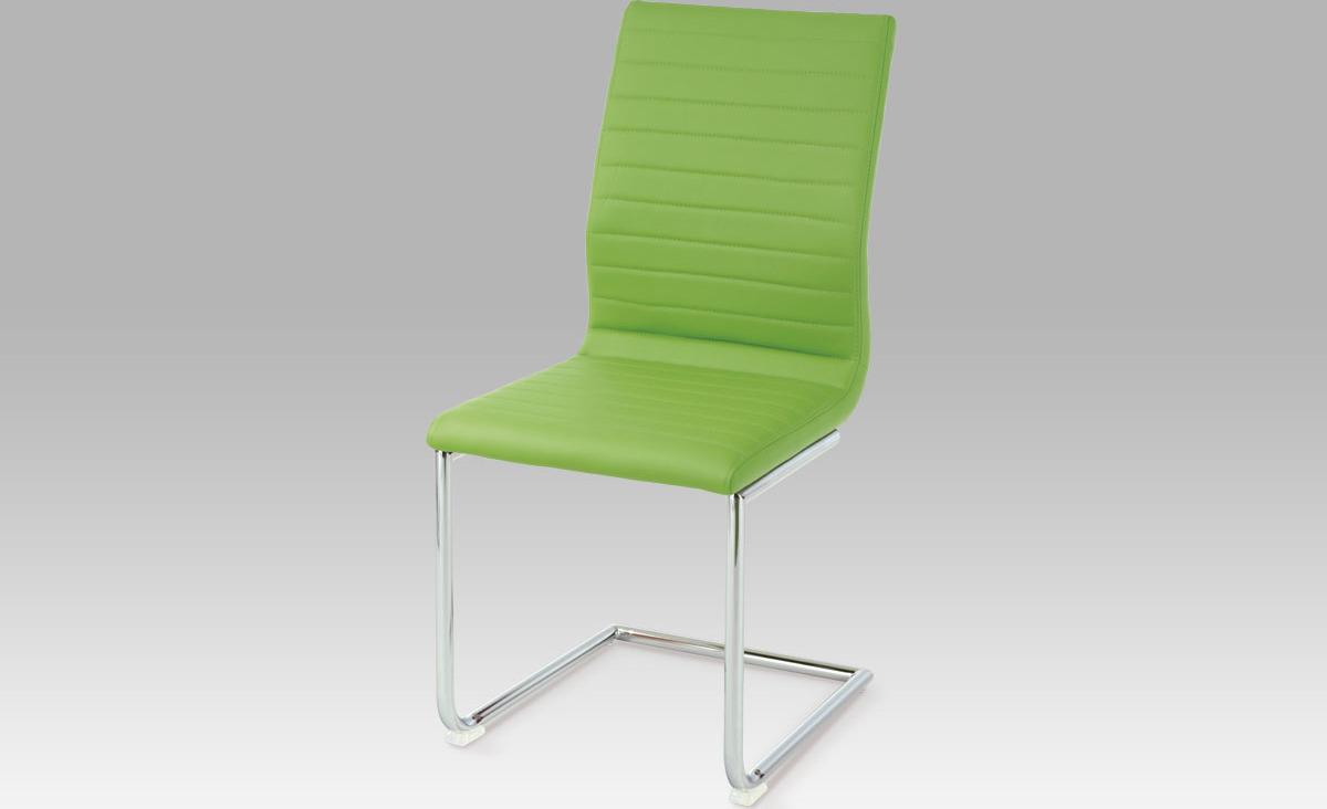Jídelní židle chrom | látka | 45x43x98x49cm Barva: zelená