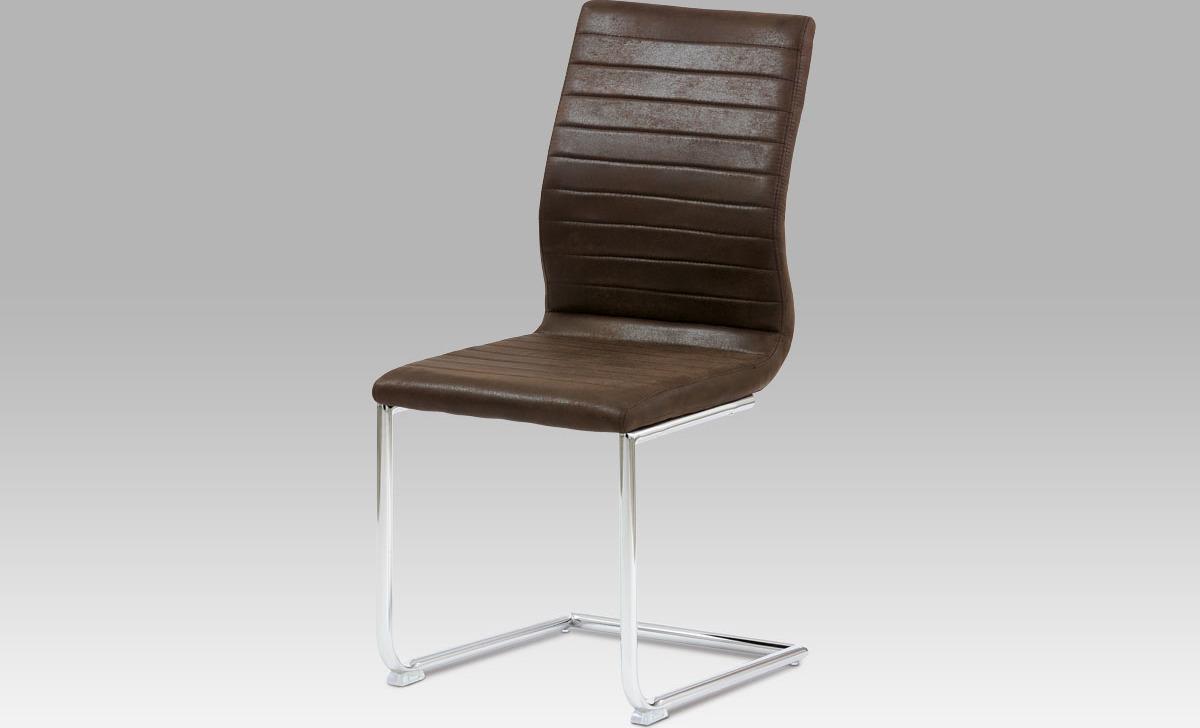 Jídelní židle chrom | látka | 45x43x98x49cm Barva: hnědá