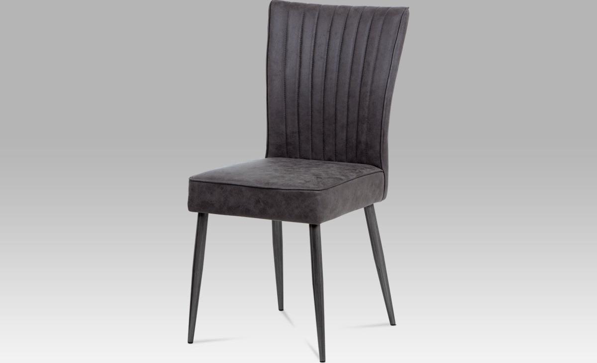 Jídelní židle | látka | broušený kov antik Barva: šedá