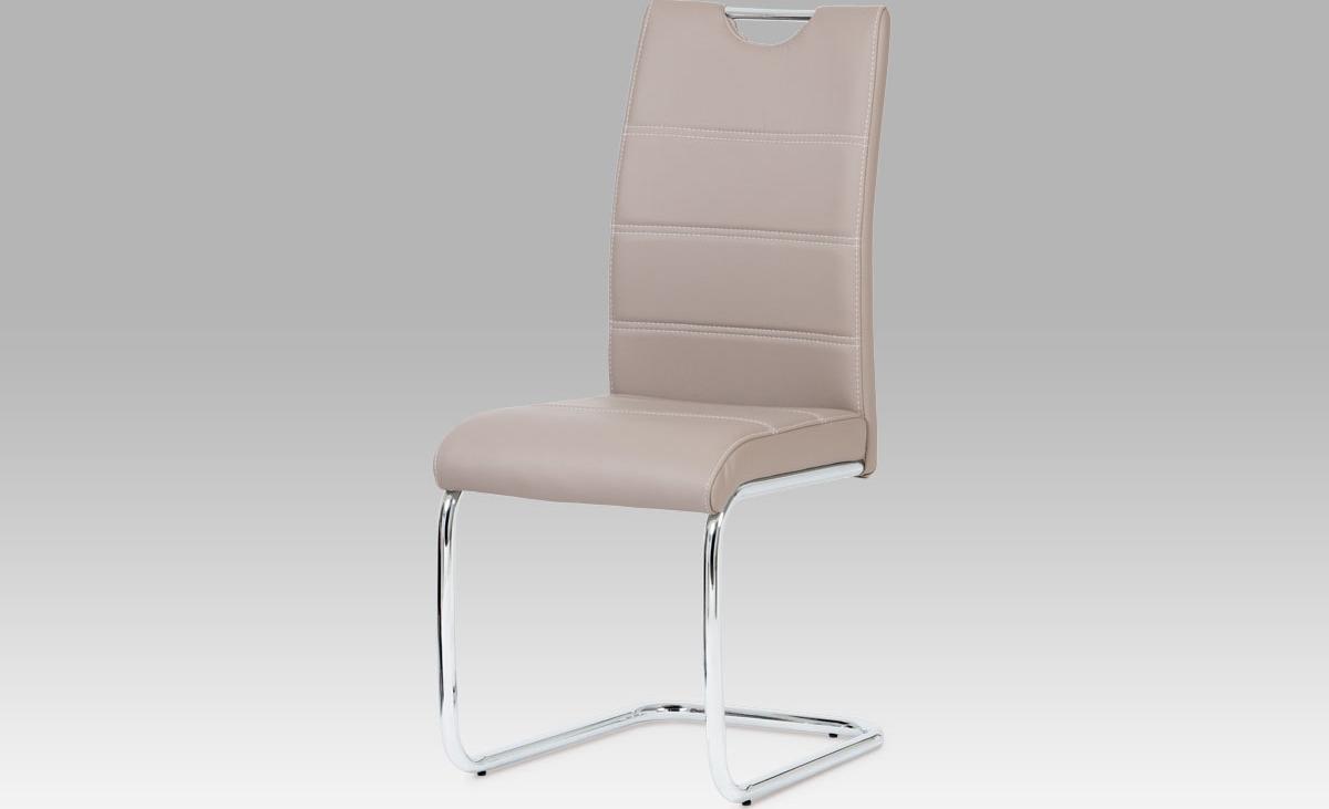 Jídelní židle | chrom | koženka | 43x43x99x48cm Barva: lanýžová