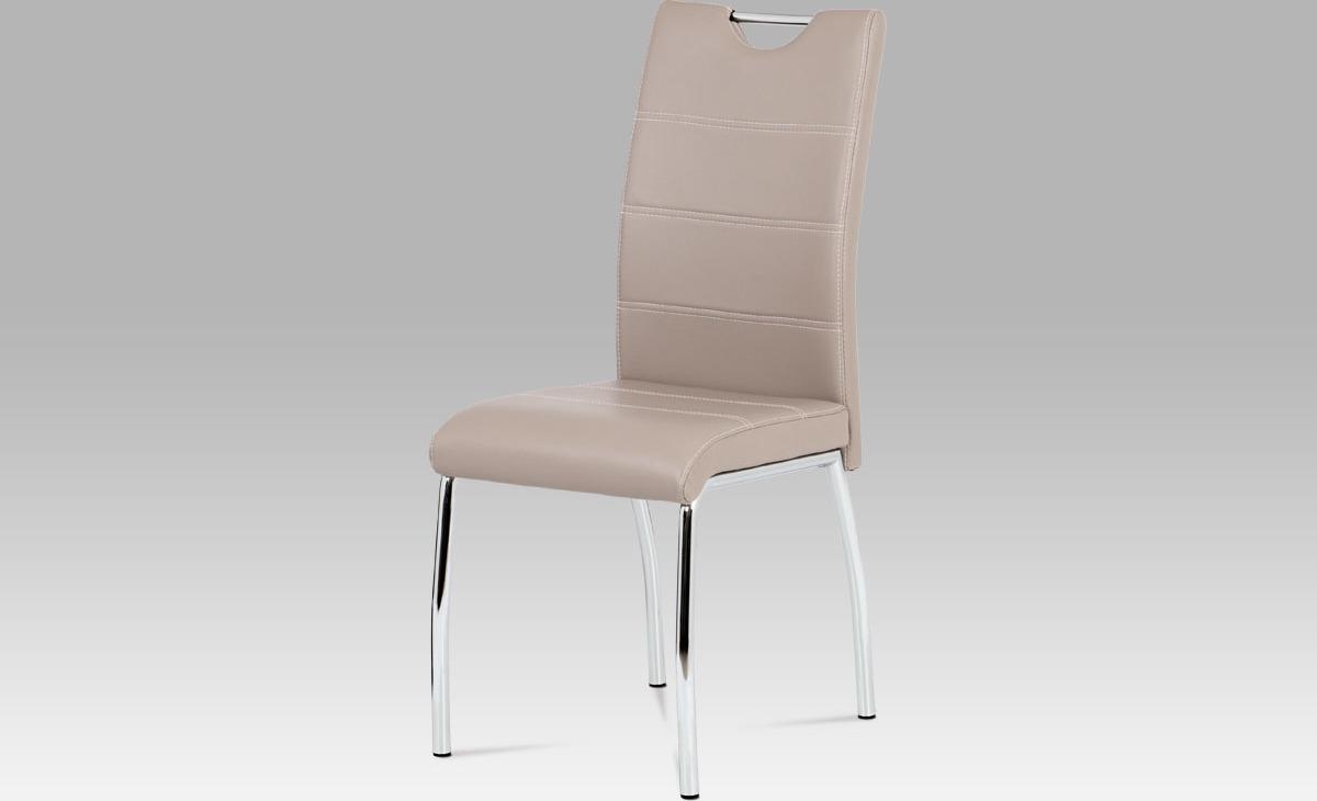 Jídelní židle koženka | chrom | 42x43x99x47cm Barva: lanýžová