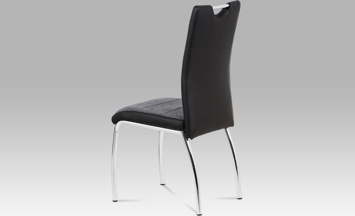 Artium Jídelní židle | látka a koženka | chrom | 42x43x99x47cm Barva: černá