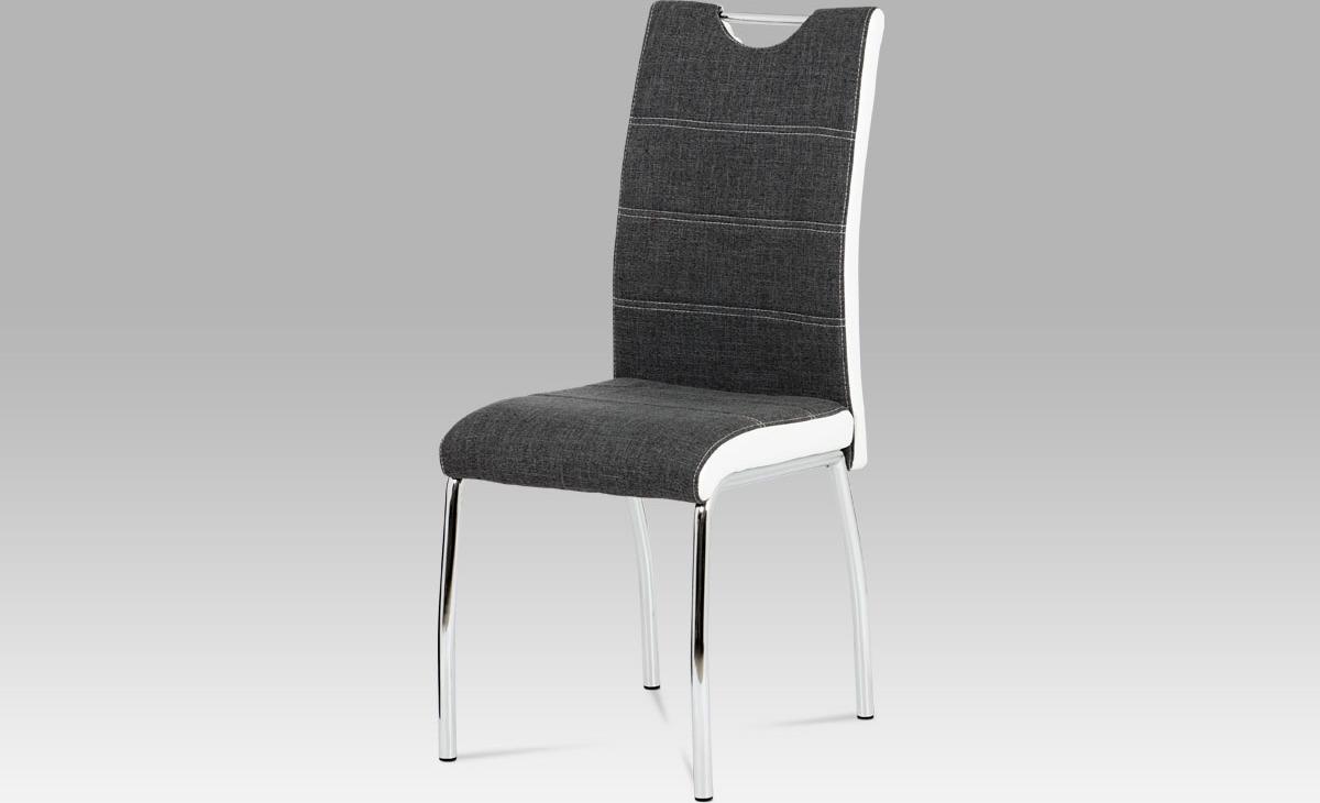 Artium Jídelní židle | látka a koženka | chrom | 42x43x99x47cm Barva: šedá