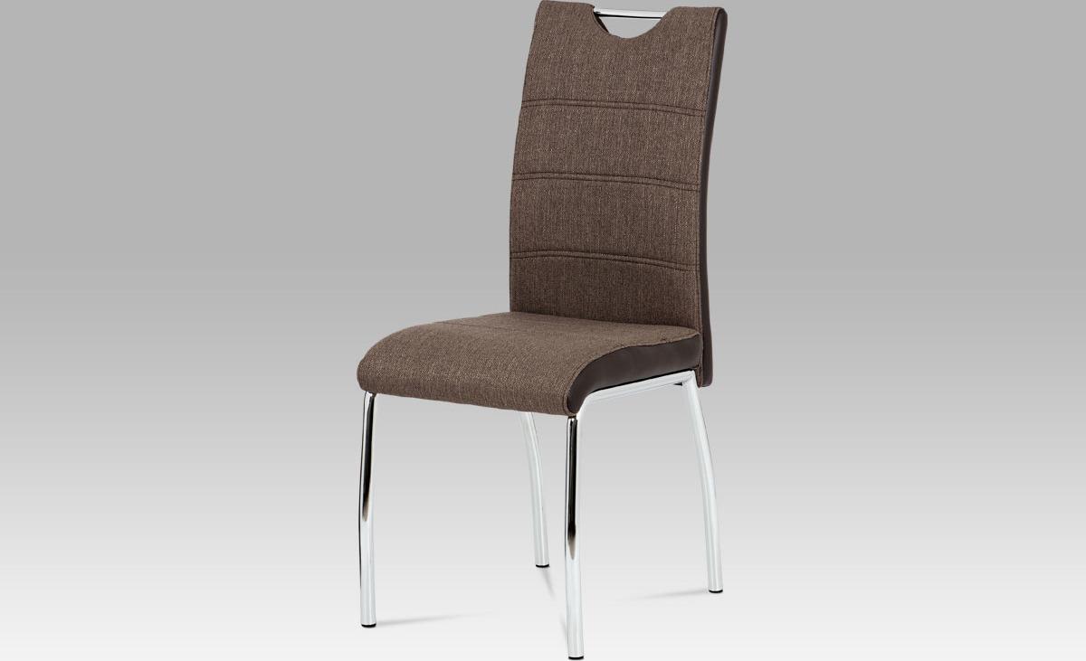 Artium Jídelní židle | látka a koženka | chrom | 42x43x99x47cm Barva: hnědá