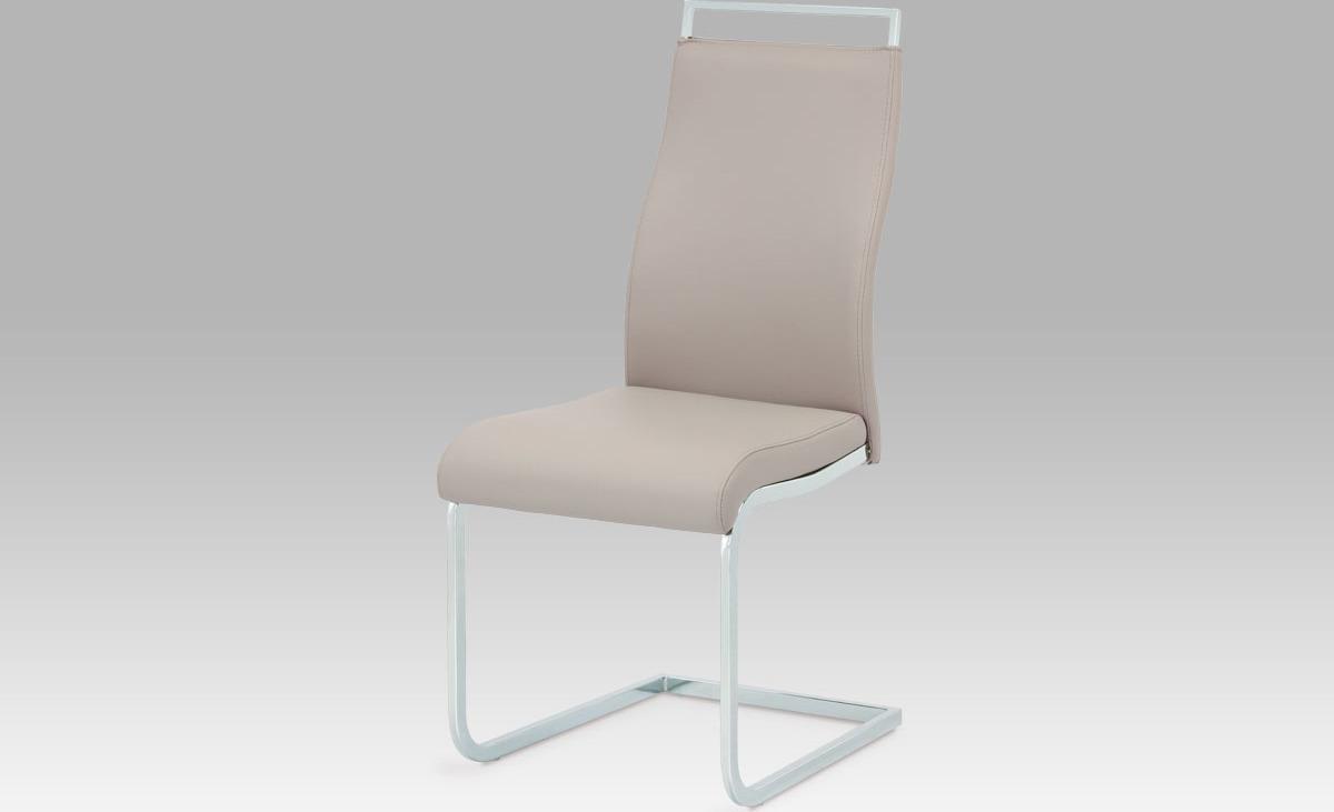 Jídelní židle koženka | chrom | 45x45x100x49cm Barva: lanýžová