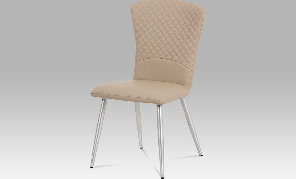 Artium Jídelní židle koženka cappuccino | broušený nerez