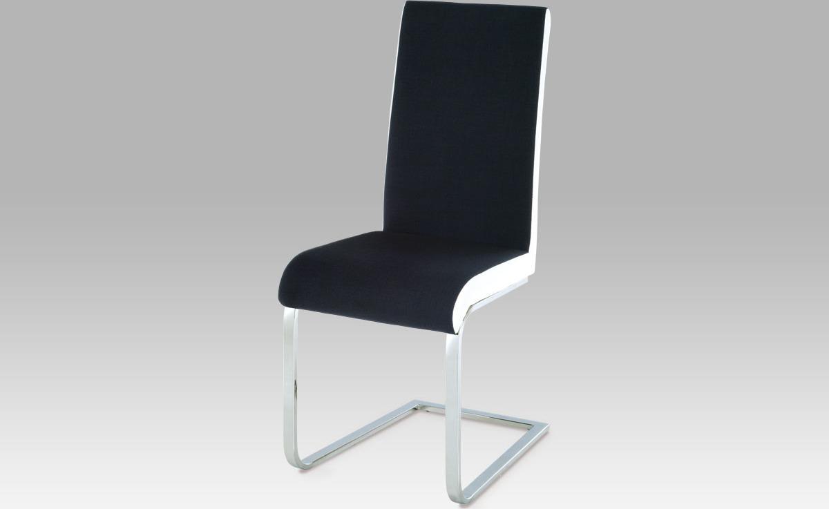 Artium Jídelní židle | chrom | látka černá s boky v bílé kožence