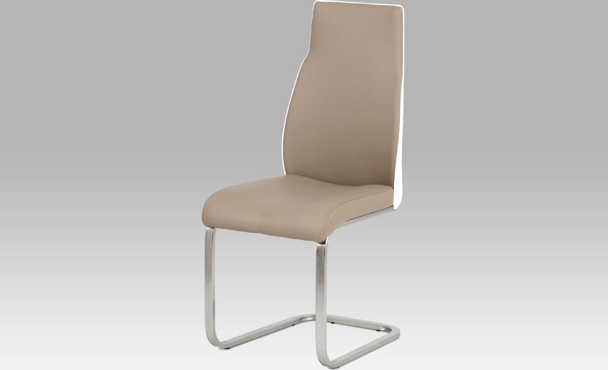 Artium Jídelní židle koženka | broušený nerez | 42x46x100x48cm Barva: cappuccino