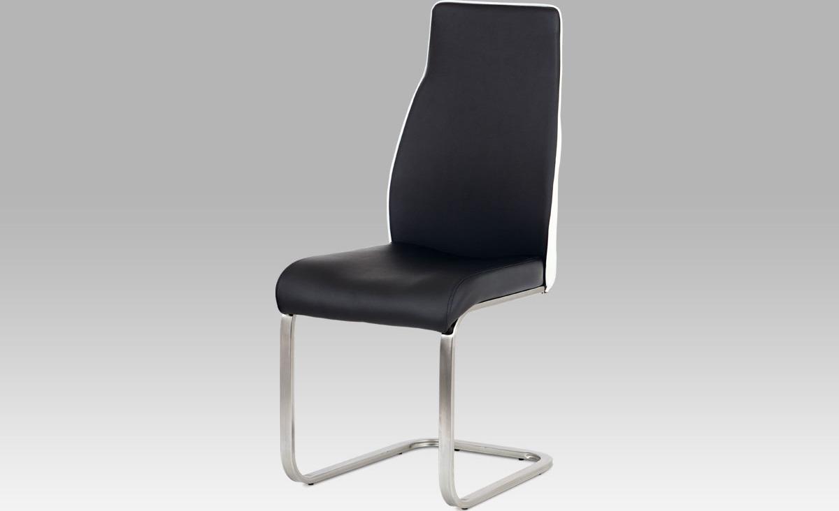 Jídelní židle koženka | broušený nerez | 42x46x100x48cm Barva: černá