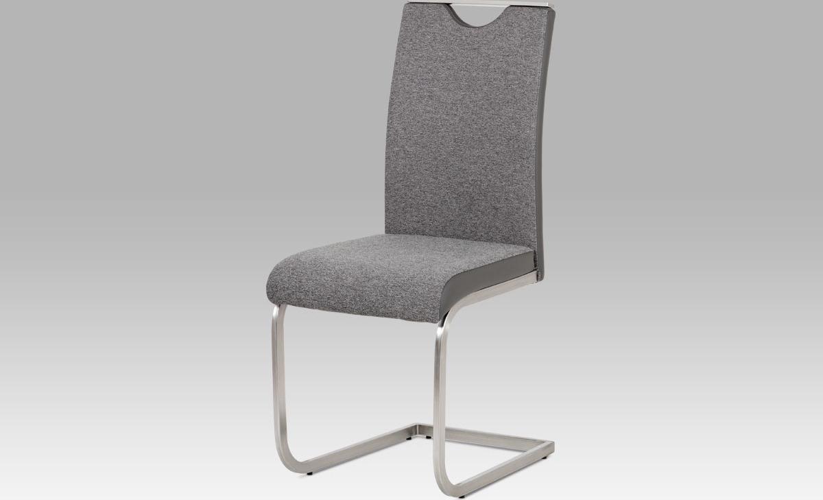 Artium Jídelní židle | látka a koženka | broušený nerez Barva: šedá