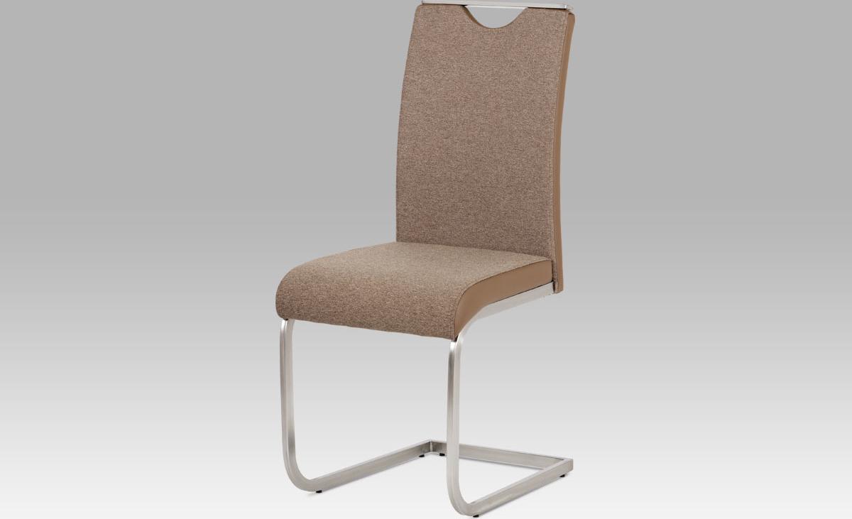 Artium Jídelní židle | látka a koženka | broušený nerez Barva: cappuccino