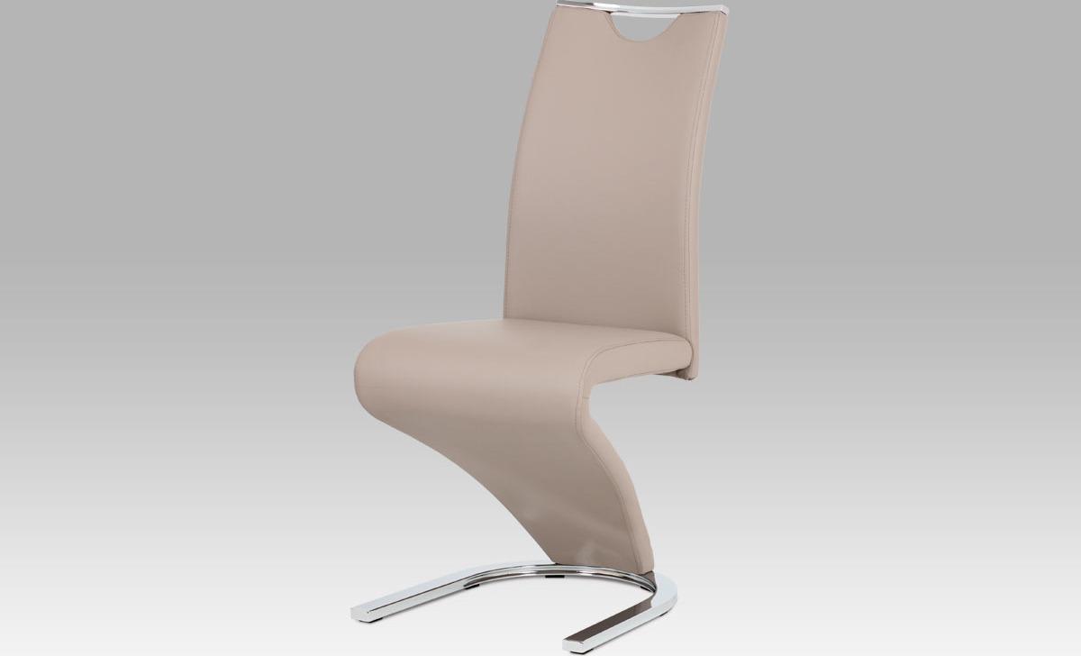 Moderní jídelní židle | koženka | chrom | 44x45x101x47cm Barva: lanýžová