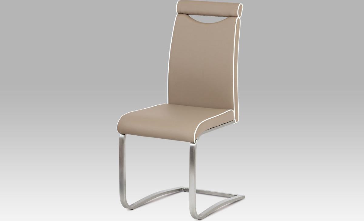 Artium Jídelní židle | koženka | broušený nerez | 44x43x98x48cm Barva: cappuccino
