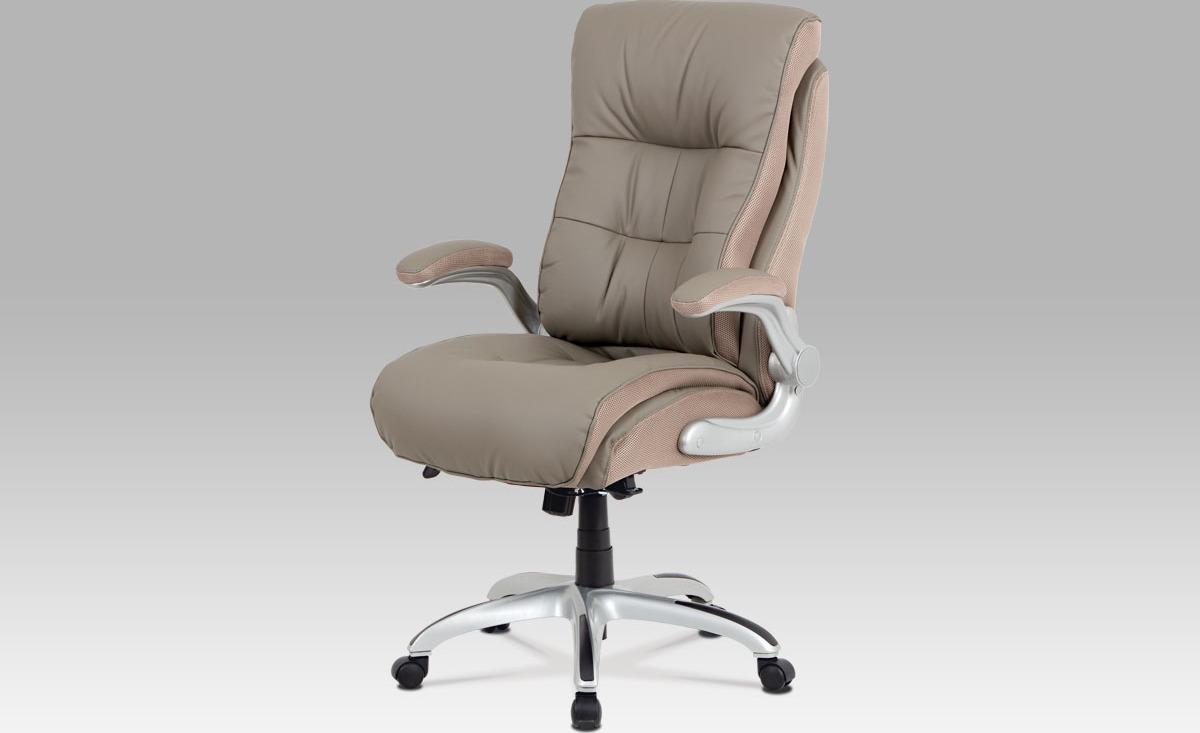 Kancelářská židle, lankový mech., lanýžová koženka + MESH, plast. kříž