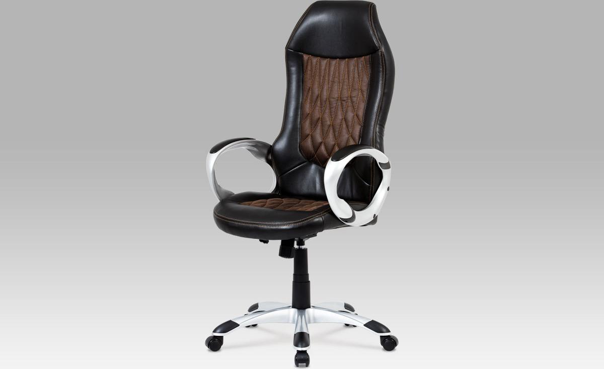 Kancelářská židle |černá koženka | hnědá látka